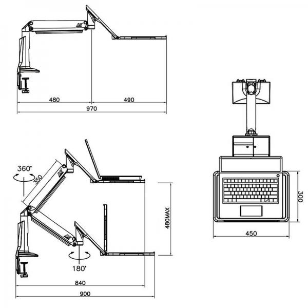 FB17- supporto per portatile nero