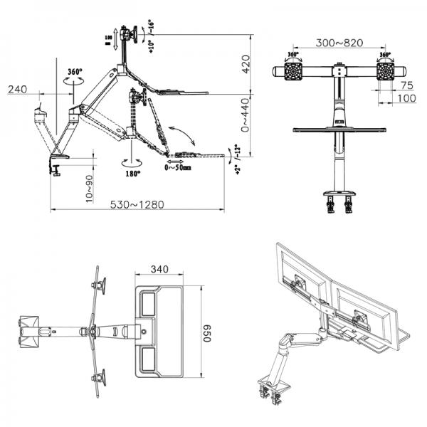 FC40-2A-B- Supporto da scrivania girevole