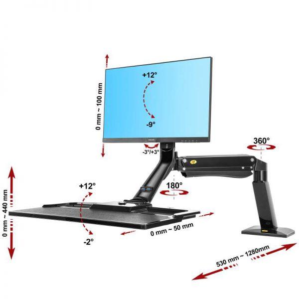 FC40B- Supporto da scrivania girevole